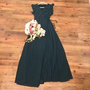 Flounce Sleeve Maxi Dress